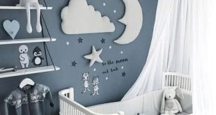 3pcs Nordic Style Moon Cloud Star Kids Room Decoration 3D Wall Decor