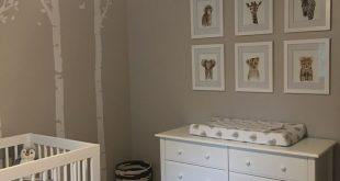 Boy/Girl Neutral nursery with safari animal theme and white furniture