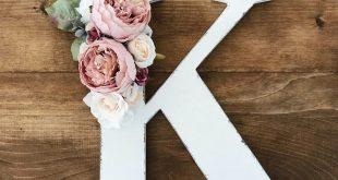 Distressed floral farmhouse letter, wood flower letter, modern farmhouse decor, ...