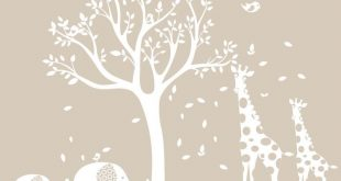 White Nursery Tree Decal, Animal Nursery Art, Baby Nursery Tree, Gender Neutral ...
