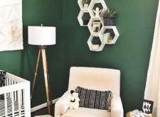 A Green Nursery with Modern Black and White Accents. Wall color Evergreens by Sh