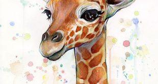 Baby Giraffe Aquarell - Kunstdruck Ein Giclée-Druck von meinem ...  #aquarell #...