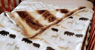 Faux Fur Baby Blanket, Luxurious Fleece and Faux Fur Plush, Cozy, Throw, Rustic, Animal, Woodland, C