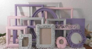 Pink Grey Purple Shabby Chic Picture Frame Set Up Cycled Vintage Rustic Distressed Collection French