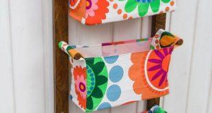Watercolor flowers nursery storage - Kids room storage - Vertical organizer - Floral nursery - Boho Chic - Wall organizer