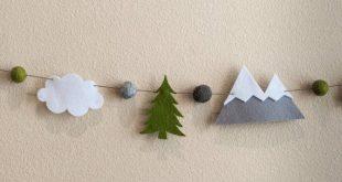 Woodland Garland / Nursery / Felt Garland / Mountain Garland / Woodland Banner / Gray Mountain / White Cloud / Woodland Nursery