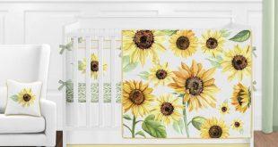 Yellow Green White Floral Boho Sunflower Baby Girl Nursery Crib Bedding Set #aff...