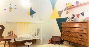 25 Cute and Comfy Scandinavian Nursery Ideas 2019 Geometric pattern coupled wi...