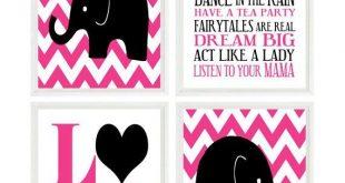 Baby Girl Nursery Art ,Chevron, Elephant Nursery Prints, Girl Wall Art , LOVE Art Print, Hot Pink, Black, Girl Rules Quote Art, Gift