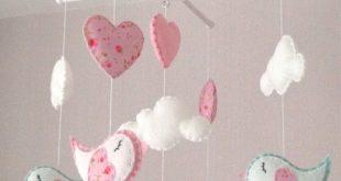Baby mobile - Cot mobile - Bird Mobile - Cloud Mobile - Baby girl mobile - Nursery Decor - Pink Nursery - Pink baby mobile