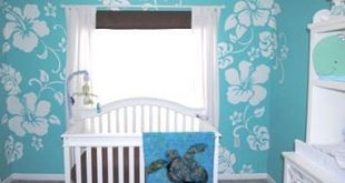 Blue and White Hawaiian Baby Boy Nursery Decor with Sea Turtle Theme Crib Beddin...