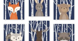 Boy Nursery Wall Art Navy Woodland Nursery Decor Woodland Animals Wall Decor Woodland Baby Shower Gift Set of 6 Prints or CANVAS 032