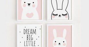 Druckbare Kindergarten-Kunst-Set von 4 Poster Babymädchen Zimmer Wandkunst Rosa Dekor Bär und Hase Druck Traum große digitale Datei INSTANT DOWNLOAD