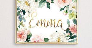 Erröten Sie Blumen Kinderzimmer Wand Kunstdruck, echte Folie und Aquarell perso...