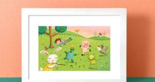Girl Art, Festive Print, Gender Neutral Nursery, Animal Printable, Neutral Nursery Art, Kids Room decor, Whimsical Nursery, Kids Art