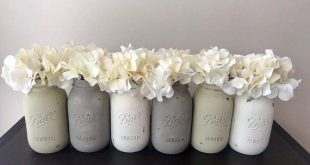 Hand Painted Mason Jar Set, Rustic Farmhouse Style Glass Containers, Neutral Nursery Decor, Baby Shower Centerpieces, Bridal Shower Decor