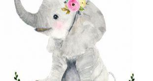 Safari Babys Kinderzimmer Set, Tiermalereien, Elefant, Giraffe, Zebra, Aquarell ...