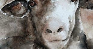 Schaf-Bauernhaus-Dekor. Schafe Drucken von Schafen. Kleine Mädchen Kinderzimmer Kunstdruck. Kinderzimmerdekor. Jahrgang Schafe Bild. Große moderne