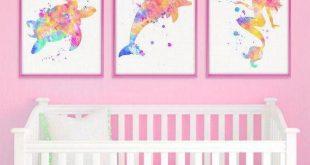 Sea life watercolor print set, sea turtle, dolphin, mermaid, baby girl nursery decor, printab...