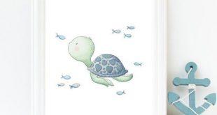 Sea turtle art, Nautical nursery decor, Under the sea wall art, Kids room print, Gender neutral nursery art, Sea creatures print