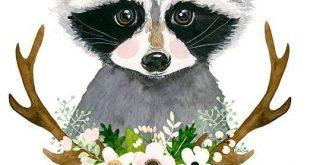 Watercolor raccoon Baby raccoon Woodland nursery F... - #Baby #Nursery #Raccoon ...
